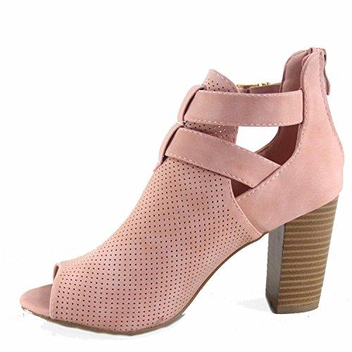 1 Perforated Sandal Chunky Fashion Women's Booties Open Blush Toe Vichy Heel Buckle Moda Top w8qCxEpE