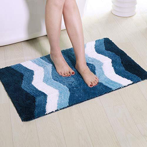 Shaggy Bathroom Rugs, Artiron Luxurious Bathroom Floor Rug Mats Plush Non Slip Machine Washable Soft Microfiber Carpet for Tub Shower Bathroom Doormat (20 x 31 Inch, Blue Chevron) ()
