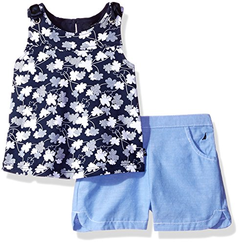 Nautica Baby Girls' Sleeveless Fashion Top With Shorts Set, Navy/Chambray, 18 Months