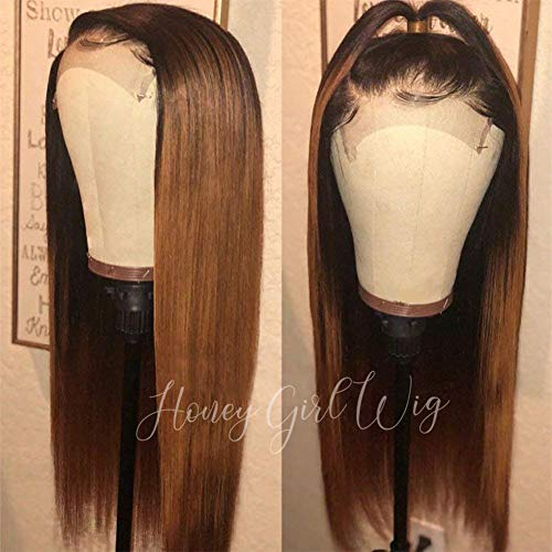 - 360 Lace Frontal Wig Pre Plucked 150% Density Human Hair Wigs Ombre Black Roots 1B 30 Color Straight Hair Ombre wigs 360 Lace Wig 360 wig Ombre Blonde wig with Baby Hair Two tone color wig 16