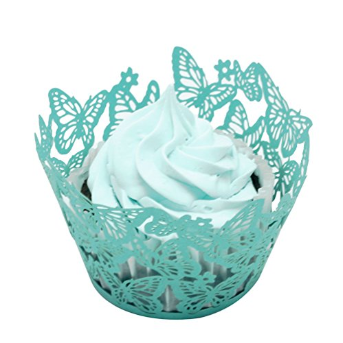 BETOP HOUSE Butterfly Design 50-Piece Cupcake Wrappers, Blue ()
