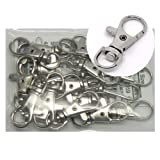 Rockin Beads® 20 Nickle Plated Lobster Claw Swivel Clasps for Key Ring 1 3/8 X 1/2 Inch