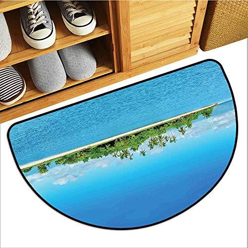 Axbkl Non-Slip Door mat Island Uninhabited Island at Philippines Beach Palm Trees Forest Tropical Vacation Picture Easy to Clean W31 xL20 Blue Green