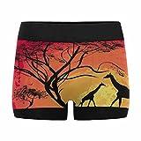 InterestPrint Boxer Briefs Men's Underwear Giraffe Sunset in Africa Landscape XXL