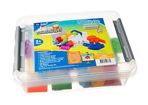 Sands Alive Ultimate Dino and Castle Sand Molds Set - Includes 18 Molds and Play Sand Tray