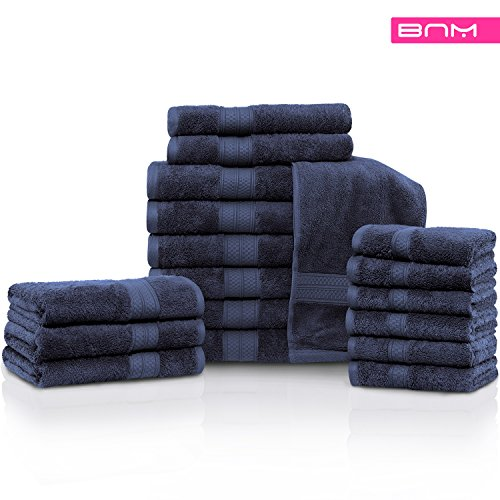 Rayon from Bamboo and Cotton, 18-Piece Bathroom Towel Set, Highly Absorbent, Super Velvety Soft, Dobby Checkered Dual Border, River Blue by Blue Nile Mills (Image #1)