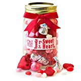 Valentines Day Gift, Valentine Day Mason Jar with Valentines Candy Hearts and Chocolate - Oh! Nuts