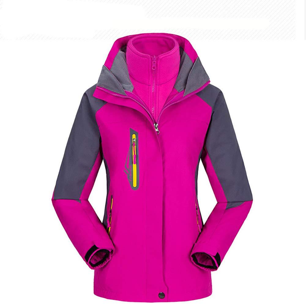 Pink red XXL Women's 3-in-1 Jackets Waterproof Fleece Jacket Outdoor Skiing Snowboarding Coat 7 colors,Comfortable and Warm
