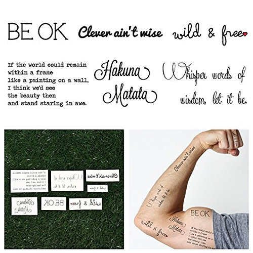 Wise Man Costume Uk (Tattify Assorted Typography Temporary Tattoos - Wise Words (Complete Set of 12 - 2 of each Style) - Individual Styles Available and Fashionable Temporary Tattoos)