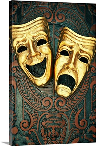 Canvas On Demand Premium Thick-Wrap Canvas Wall Art Print entitled Golden comedy and tragedy masks on patterned leather (Face Wall Art Mask)