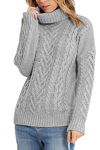 Pink Queen Women's 100% Cotton Cowl Neck Ribbed Cable Knit Long Sweater Jumper Grey S