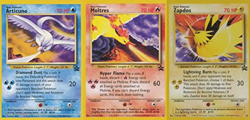 Pokemon Promo Single Card Set of All 3 Rare Legendary Birds Moltres, Articuno & Zapdos