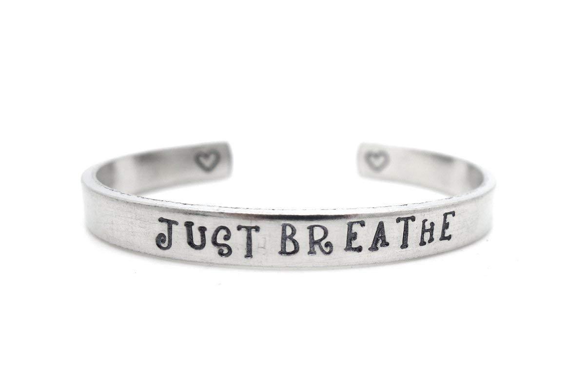 inspirational jewelry encouragement cancer survivor gift addiction recovery meditation gift for yoga girl mama SALE just breathe bracelet
