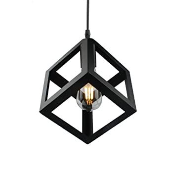 Betorcy Vintage Geometric Pendant Light Cage Industrial Metal Hanging Lamp Fixtures E26 E27