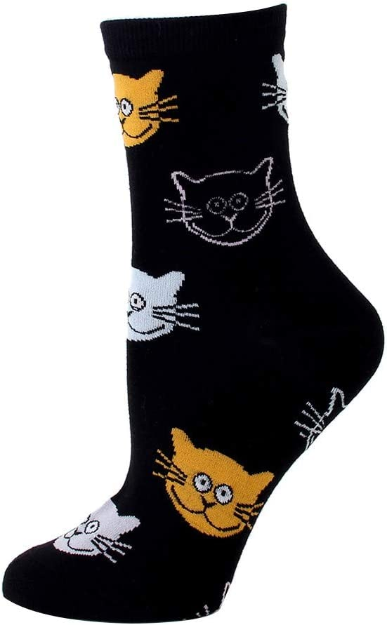 Colorful Patterned Funny Crew Socks Cartoon Cat Dress Socks Cotton Breathable Long Tube Sock Stretchy Casual Slouch Socks for Women Girls