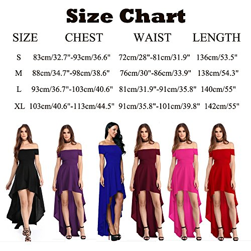 High Bonaweite Dress Hidden Party Low Zipper Blue Off Women Hem Shoulder Casual qOwSxEr8O