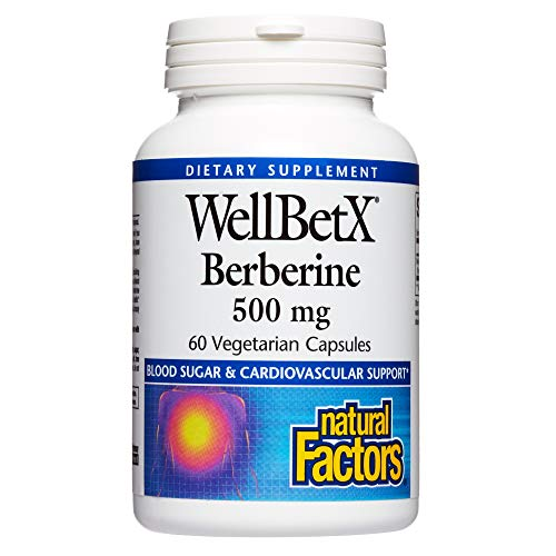 WellBetX Berberine 500 mg by Natural Factors for Healthy Blood Sugar and Cholesterol Levels Already Within The Normal Range, 60 Vegetarian Capsules (60 Servings)