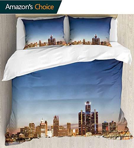 Detroit Decor Bedding Sets Duvet Cover Set,Michigan Skyline at Twilight Waterfront Lively City Serene Travel Destination Bedspreads Beach Theme Quilt Cover Children Comforter Cover 68