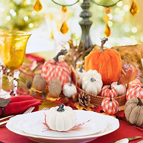 FUTUREPLUSX Artificial Pumpkins, 12PCS Assorted Pumpkins Fake Pumpkins Farmhouse Pumpkins Fall Pumpkins for Halloween Thanksgiving Decorations