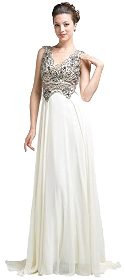 9aa24384a6e Meier Women s Illusion V-Neck Evening Dress with Sheer Back Cream size 6