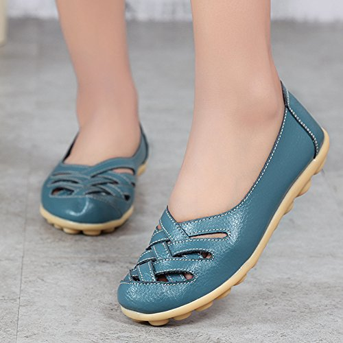fereshte Womens Cutout Genuine Leather Loafers Casual Moccasin Driving Shoes Indoor Flat Slip-On Slippers Light Blue XLV697XVvD