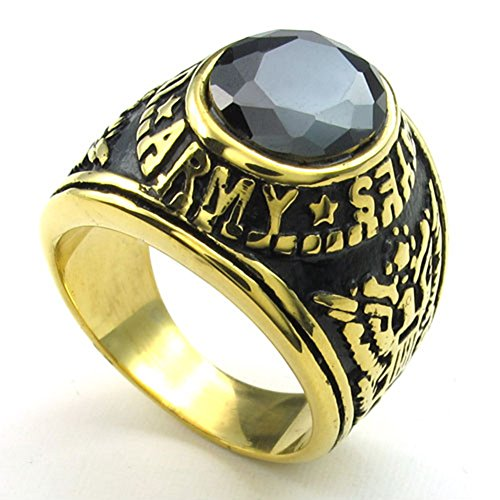 - TEMEGO Jewelry Mens Cubic Zirconia Stainless Steel Ring, Vintage Eagle US Army Symbol Band, Black Golden Red