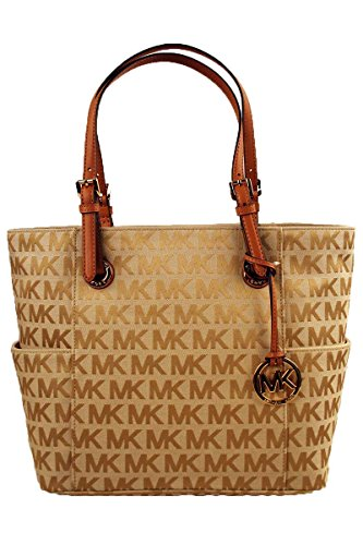 Michael Kors Jet Set Monogram Signature Tote BE/EB/TAN (Michael Kors Jet Set Monogram Signature Tote)