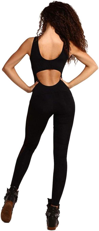 ZEARO Femmes Yoga Danse Sports Fitness Gilets Body sans Manches Backless Mesh Patchwork Long Jumpsuit