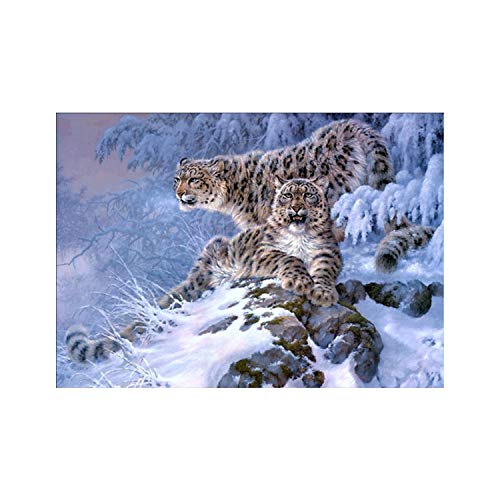 - 5D Diamond Painting, Full Drill Snowflake Tree Leopard?Crystals Embroidery Diy Resin Cross Stitch Kit Home Decor Craft(Frameless)