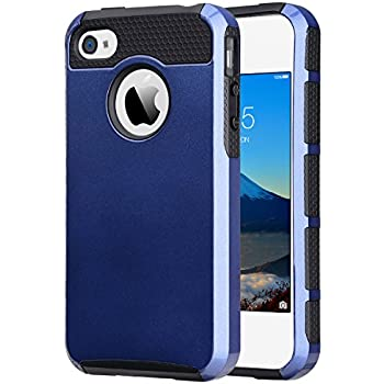iPhone 4 Case, iPhone 4S Case ,4S Case,ULAK Dual Layer Hybrid Slim Hard Case with Hard PC Cover and Soft Inner TPU for iPhone 4S 4(Navy Blue+Black)
