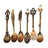 Verdental Retro Stereoscopic Coffee Spoon Tea Spoon Dessert Spoon Mixing Spoon Ice Cream Spoons with Fruit Fork Set of 6 (Red Antique Brass)