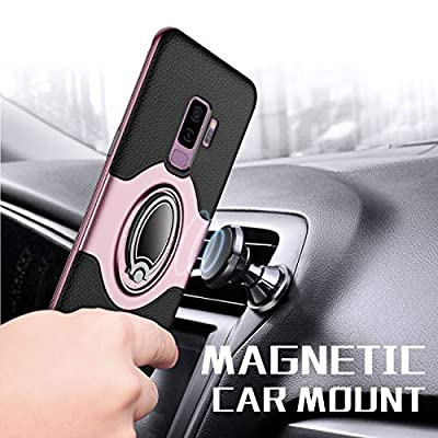 Samsung Galaxy S9 Plus Case - eSamcore Ring Holder Kickstand Cases + Dashboard Magnetic Phone Car Mount [Rose Gold]