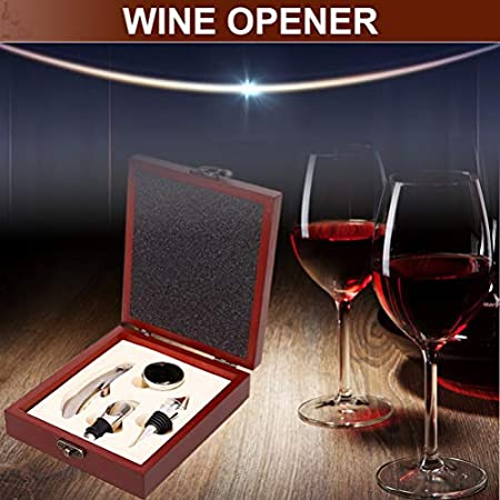 Sacacorchos, Kit de Abridor de Vino de Sacacorchos de Vino de Acero Inoxidable Aerator Juego de Regalo de Abridor de Botella con Estuche de Madera