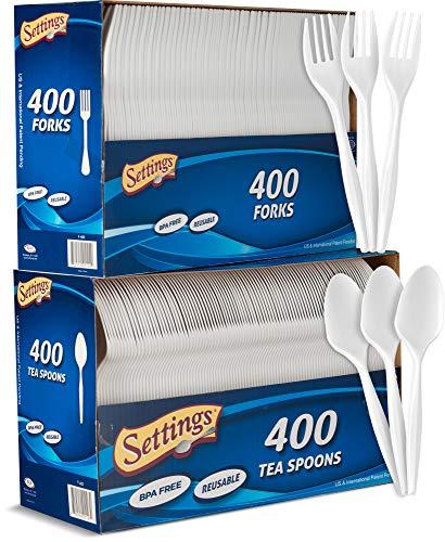 Settings White Disposable Plastic Cutlery [800 Count] Utensils/Silverware Combo Box 400 Plastic Forks & 400 Plastic Tea Spoons