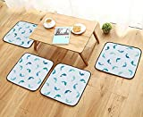 Leighhome Anti-Skid Chair Cushions Decor Leaping and Playing Dolphin Figures Aquatic Animal Marine Theme Turqoise Blue Navy Health is Convenient W19.5 x L19.5/4PCS Set
