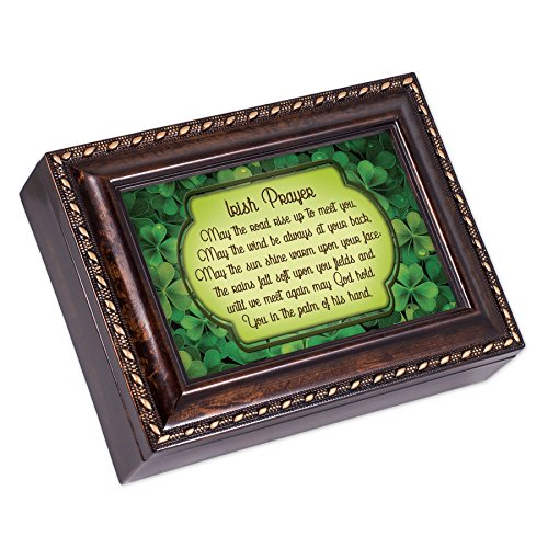Irish Blessing Green Shamrocks Burlwood Finish Jewelry Music Box Plays Amazing Grace