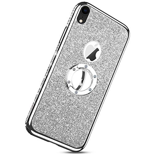 Floor Tom Silver Sparkle - Herbests Compatible with iPhone XR Glitter Cute Phone Case for Women Girls with Ring Holder Kickstand Crystal Clear Thin Anti-Scratch Bumper Soft TPU Protective Cover,Silver