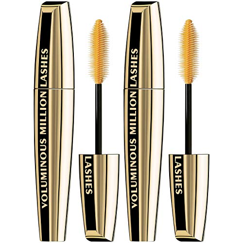 L'Oreal Paris Makeup Voluminous Million Lashes Mascara, Volumizing, Defining, Smudge-Proof, Clump-Free Lengthening, Collagen Infused Eye Makeup, Amplifying Mascara Brush, Blackest Black, 2 Count