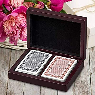 Personalized Rosewood Finished Gift Box with 2 Decks of Playing Cards: Toys & Games