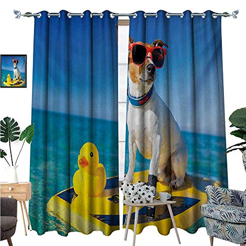 Rubber Duck Waterproof Window Curtain Dog with Sunglasses and Rubber Duck on Surfboard at Ocean Shore Fun Summer Blackout Draperies for Bedroom W96 x L108 Multicolor ()