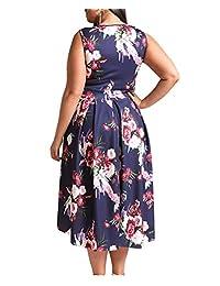 8829 - Plus tamaño Hi bajo sin mangas floral impresión sólido vestido