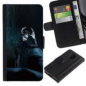 Moda Negro Bruja noche de Halloween- la tarjeta de Crédito Slots PU Funda de cuero Monedero caso cubierta de piel Para Samsung Galaxy S5 V SM-G900