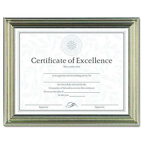 DAX DAXN1818N2T N1818N2T Antique Colored Document Frame W/Certificate, Plastic, 8 1/2 X 11, (Antique Silver Document Frames)