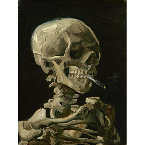 Van Gogh Head Skeleton Burning Cigarette Canvas Wall Art Print -
