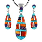 Matching Turquoise & Gemstones Set in 925 Sterling Silver (Pendant, Earrings, Necklace) (Multi-C51)