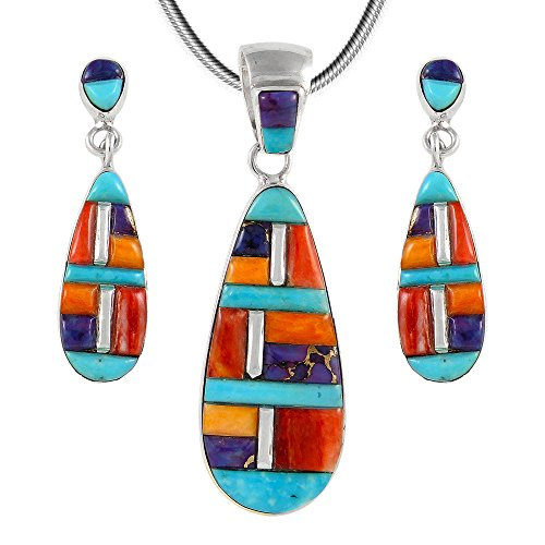Matching Turquoise & Gemstones Set in 925 Sterling Silver (Pendant, Earrings, Necklace) (Multi-C51) ()