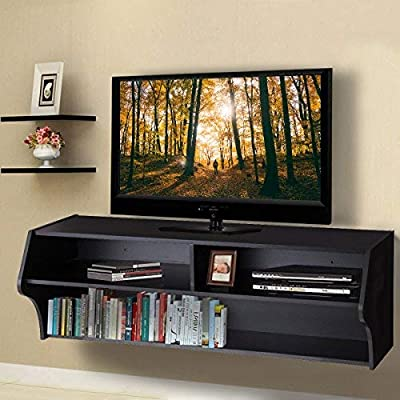 """Giantex 48.5"""" Wall Mounted Floating Audio/Video Console Wood with Open Storage Shelves Living Room Furniture"""