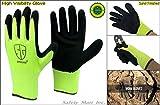 12 Pairs Sand Finish Black Rubber High visibility Nylon Top Sale Grip Work Glove (Medium)