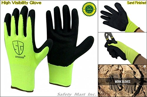 12 Pairs Sand Finish Black Rubber High visibility Nylon Top Sale Grip Work Glove (Medium) by Safeguard (Image #1)