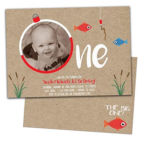 - Photo Fishing 1st Birthday Invitation Big One Boy Kraft Lure Fish